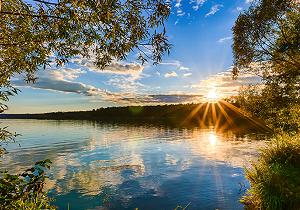Sunset on river image